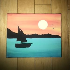 Sunset Boat Silhouette Painting